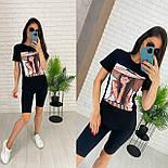 Чорні велосипедки і футболка з малюнком - жіночий костюм двійка (р. 42-54) 27101887, фото 7