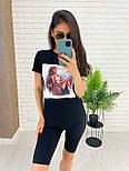 Чорні велосипедки і футболка з малюнком - жіночий костюм двійка (р. 42-54) 27101887, фото 3