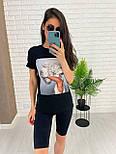 Чорні велосипедки і футболка з малюнком - жіночий костюм двійка (р. 42-54) 27101887, фото 8