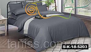 Двухспальный набор постельного белья из страйп-сатина, 100% хлопок, серый