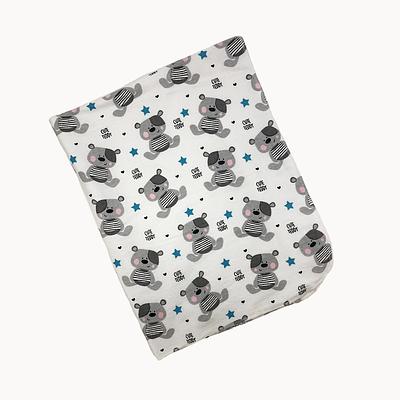 Пеленка непромокаемая, 80*100 см, (хлопок/фланель), (мишки с синими звездочками на белом)