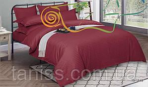 Двухспальный набор постельного белья из страйп-сатина, 100% хлопок, бордо