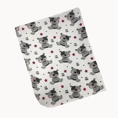 Пеленка непромокаемая, 80*100 см, (хлопок/фланель), (мишки с красными звездочками на белом)
