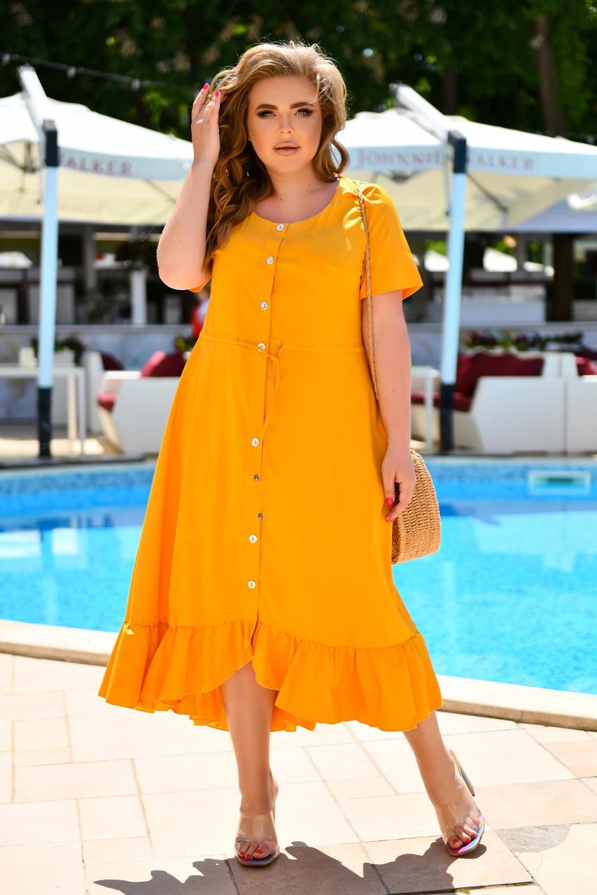 Свободное летнее платье миди с талией на завязках