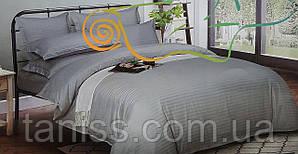 Семейный набор постельного белья из страйп-сатина, 100% хлопок,светло-серый