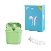 Бездротові bluetooth навушники i13S ProStar 5.0 з кейсом. Колір зелений