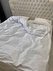 Двухспальный набор постельного белья из страйп-сатина, 100% хлопок, белый