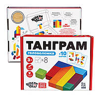 Головоломка (танграм) 8 элементов + карточки с заданием 900446 (900446)