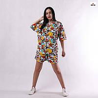 Літній костюм жіночий трикотажний оверсайз футболка з шортами