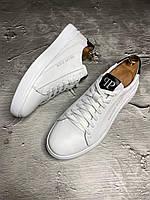 Кожаные мужские кроссовки Philipp Plein белые, мужские кроссовки белые Philipp Plein кожаные