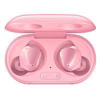 Бездротові навушники, блютуз навушники Samsung Buds + з кейсом. Колір рожевий