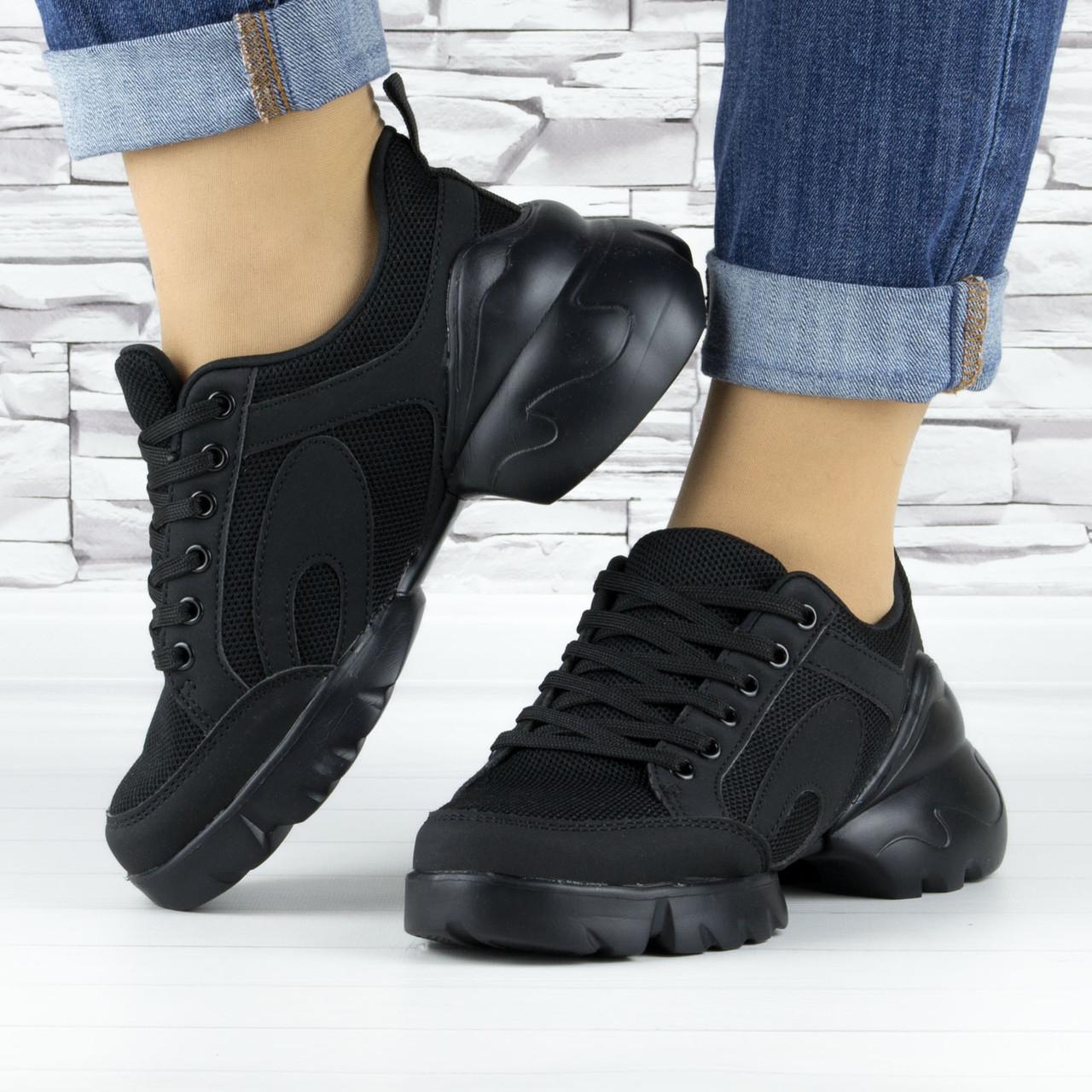 Кросівки жіночі чорні сіточка еко нубук (b-500)