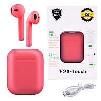 Бездротові навушники з сенсорним управлінням V99-Touch. Колір червоний