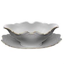 Соусник Thun Bernadotte (Обводка золото) овальный 500мл фарфор, Фарфоровая белая овальная чаша для соуса