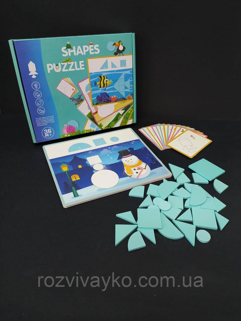 Деревянная игрушка Танграм-пазл, фигурки, карточки
