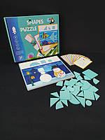 Деревянная игрушка Танграм-пазл, фигурки, карточки, фото 1
