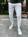 Джинси - Чоловічі білі джинси / чоловічі джинси білі з розрізами на колінах, фото 2