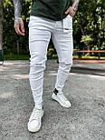 Джинси - Чоловічі білі джинси / чоловічі джинси білі з розрізами на колінах, фото 3