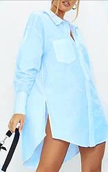 Блакитна жіноча блузка з довгим рукавом на гудзиках батал