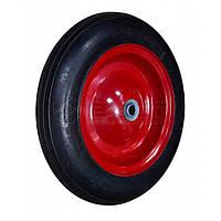 Колесо з металевим диском на литій гумі для тачки, 15'', вісь 20х75 мм Technics 70-431 | металлическим литой резине ось