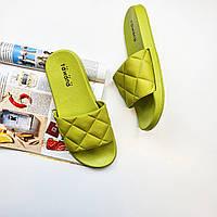 Шлепанцы пляжные женские модные салатовые зеленые Fashion 1227