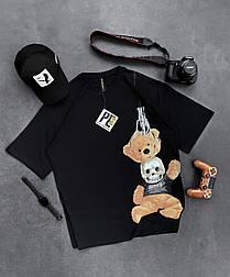 😜 Футболка Чоловіча футболка оверсайз / футболка оверсайз чорна з принтом