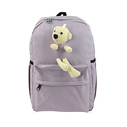 Рюкзак школьный для девочек с игрушкой Мишка сиреневый