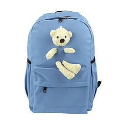 Рюкзак школьный для девочек с игрушкой Мишка голубой