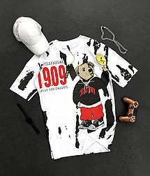 😜 Футболка Чоловіча футболка оверсайз / футболка оверсайз біла з принтом 1909