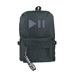 Рюкзак школьный чёрный со свето-отражающей вставкой play pause