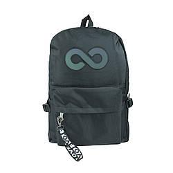 Рюкзак школьный чёрный со свето-отражающей вставкой бесконечность