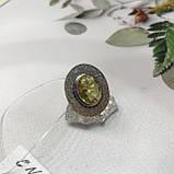 Цитрин 17,7 размер кольцо с цитрином кольцо с камнем цитрин желтый в серебре Индия, фото 6