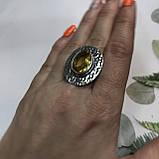 Цитрин 17,7 размер кольцо с цитрином кольцо с камнем цитрин желтый в серебре Индия, фото 2