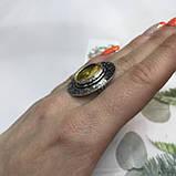 Цитрин 17,7 размер кольцо с цитрином кольцо с камнем цитрин желтый в серебре Индия, фото 3