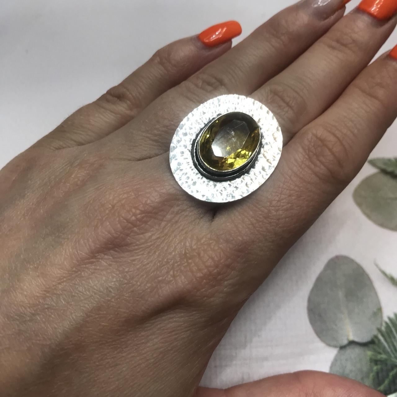 Цитрин 17,7 размер кольцо с цитрином кольцо с камнем цитрин желтый в серебре Индия
