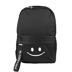Рюкзак школьный повседневный тканевый для девочек Смайлик Good Friend черный