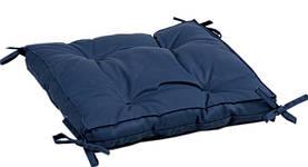 Подушка на стілець Iris Home 40*40*5 - Optima з зав'язками синій