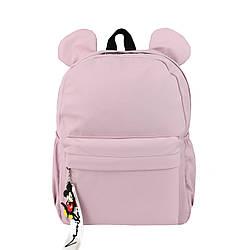 Рюкзак для девочек школьниц тканевый Ушки розовый