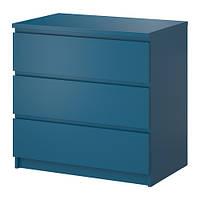 МАЛЬМ Комод с 3 ящиками, бирюзовый 80x78 см