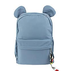 Рюкзак для девочек школьниц качественный Ушки голубой