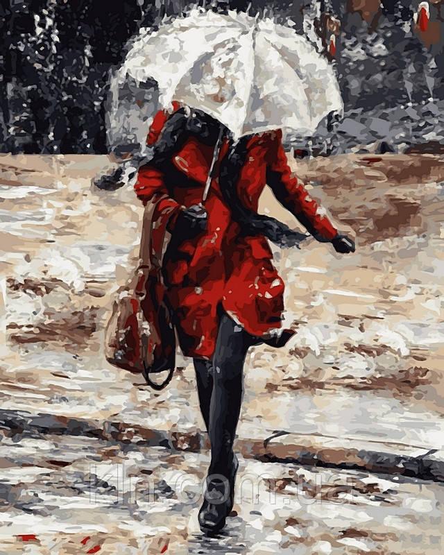 Картина по номерам Babylon Успешная девушка в красном пальто VP511 40 х 50 см