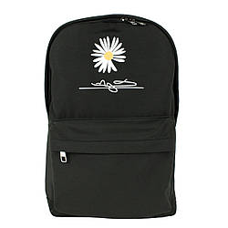 Рюкзак школьный повседневный с ромашкой тканевый черный