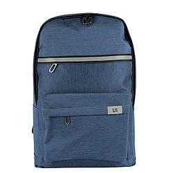 Рюкзак школьный UI синий с светоотражателем тканевый