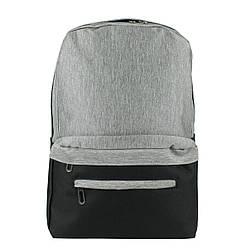 Рюкзак школьный серо-черный текстиль