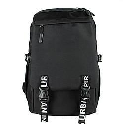 Рюкзак школьный Urban черный с тактическими поясам текстильный