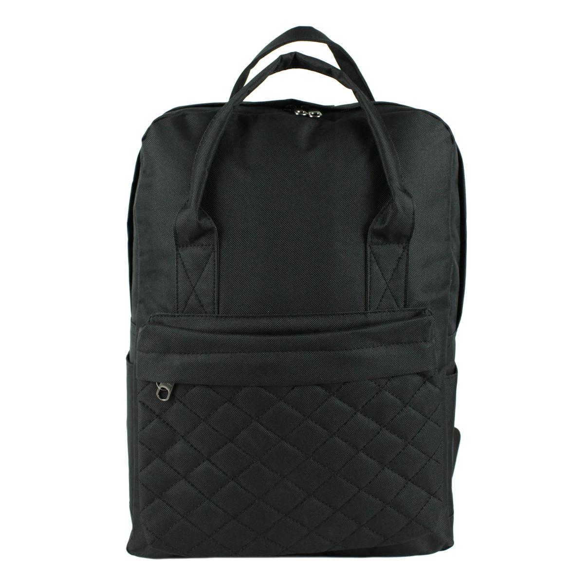 Рюкзак-сумка стеганая для школы из текстиля черная