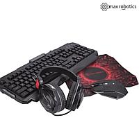 Игровой геймерский набор Max Robotics RGB 4 в 1. Клавиатура, Мышь, Наушники с микрофоном, Коврик.
