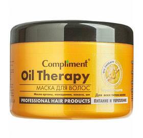 Питательная маска для волос с эффектом термозащиты, защита от сухости «Oil Therapy» Compliment  500 мл.