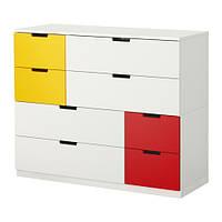 НОРДЛИ Комод с 8 ящиками, белый красный/желтый 120x97 см