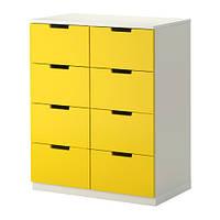 НОРДЛИ Комод с 8 ящиками, желтый/белый 80x97 см